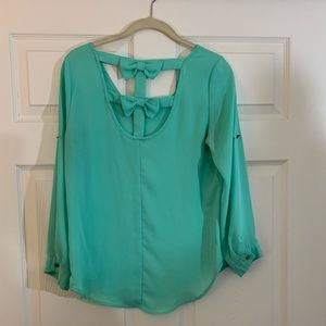 Charlotte Russe | Bow Back | Blouse | Turquoise